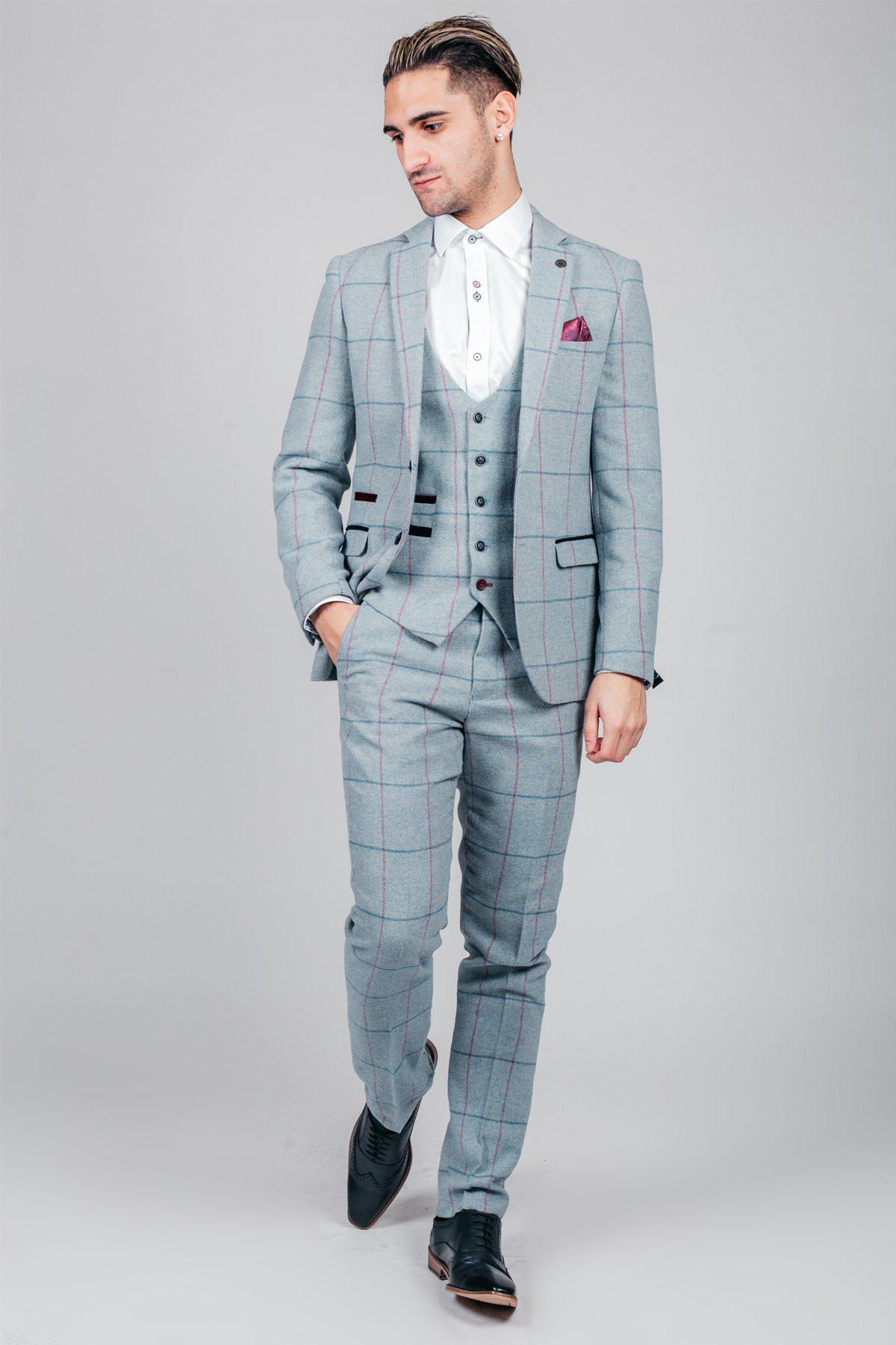 NICOLAS - Sky Check Tweed Three Piece Suit-SUITS-Marc Darcy