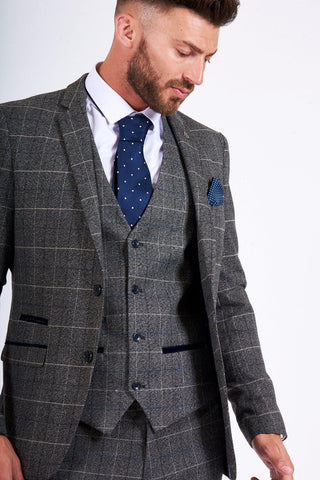 SCOTT - Grey Tweed Check Blazer