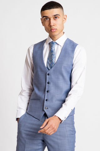 SID - Blue Grey Check Single Breasted Waistcoat