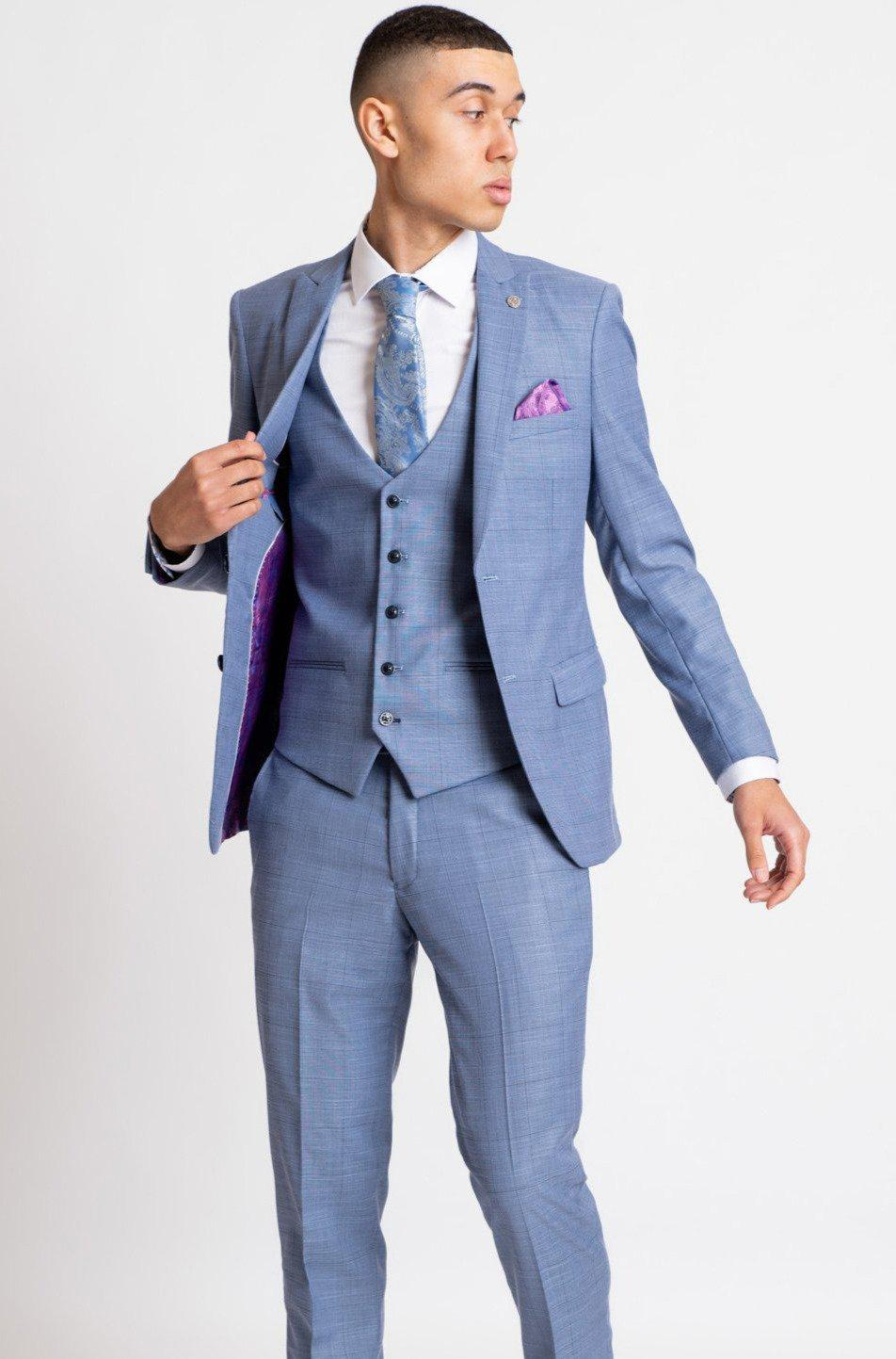 Sid Blue Grey Check Three Piece Suit Marc Darcy