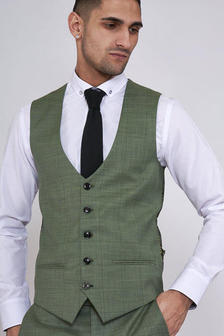 SID - Moss Green Check Single Breasted Waistcoat