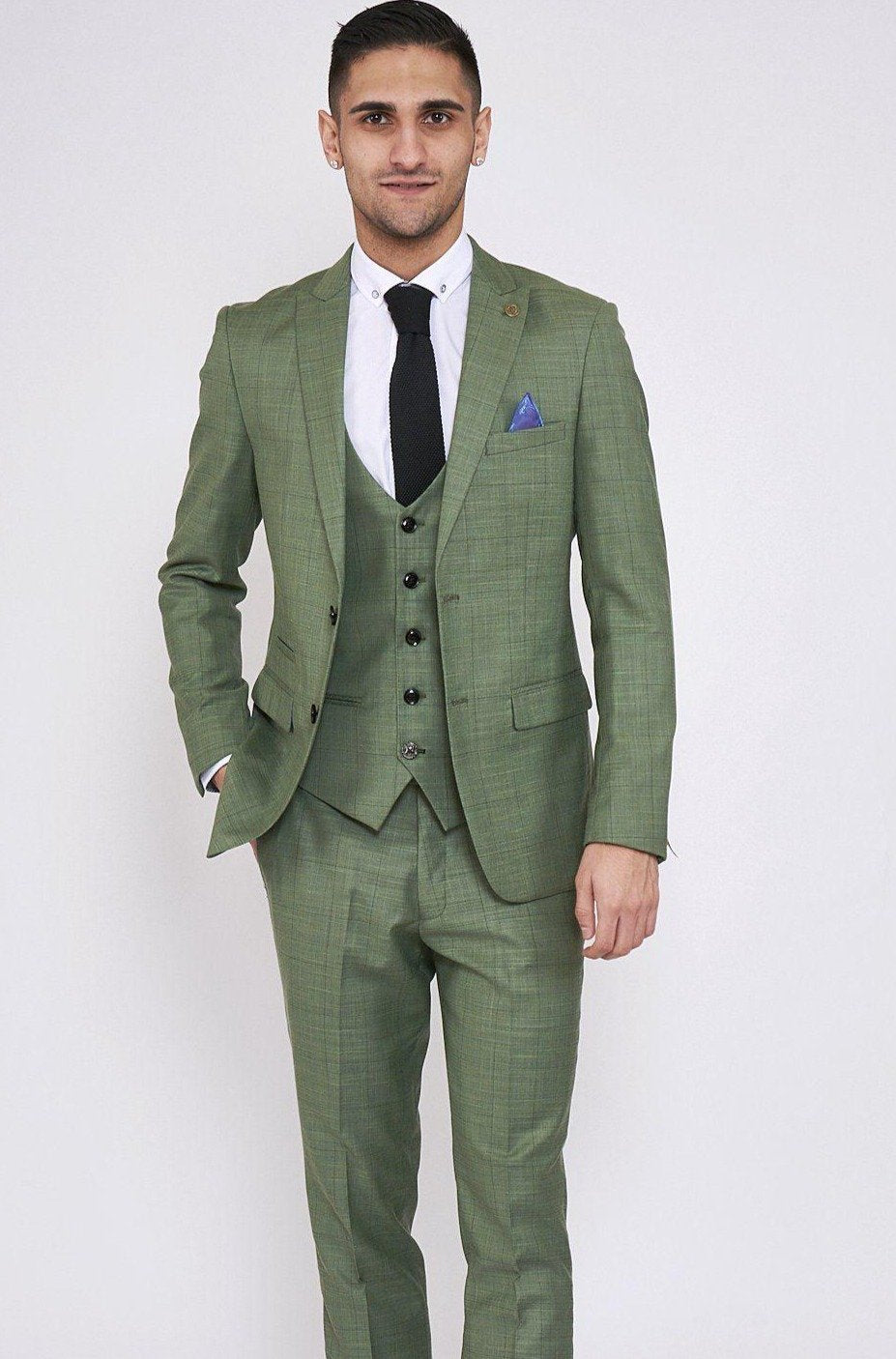 Sid Moss Green Three Piece Check Suit Marc Darcy
