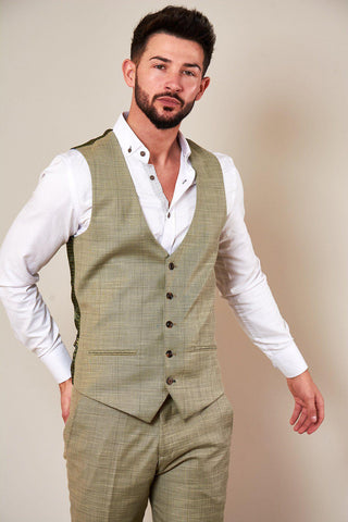 SID - Mustard Beige Check Single Breasted Waistcoat