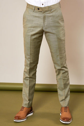 SID - Mustard Beige Check Trousers