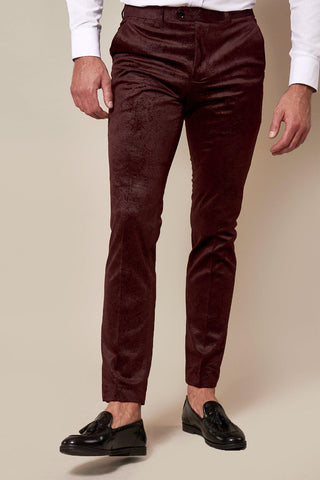 SIMON - Wine Velvet Jacquard Trousers