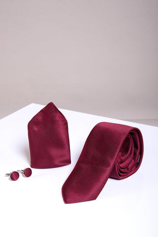 TB17 - Birdseye Tie, Cufflink & Pocket Square Set In Wine