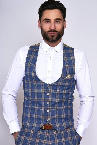 TONY - Blue Yellow Check Single Breasted Waistcoat