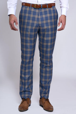 TONY - Blue Yellow Check Trousers