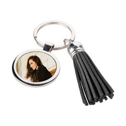 Black Tassel Circle PU Leather Keyring - Personalised Keyring