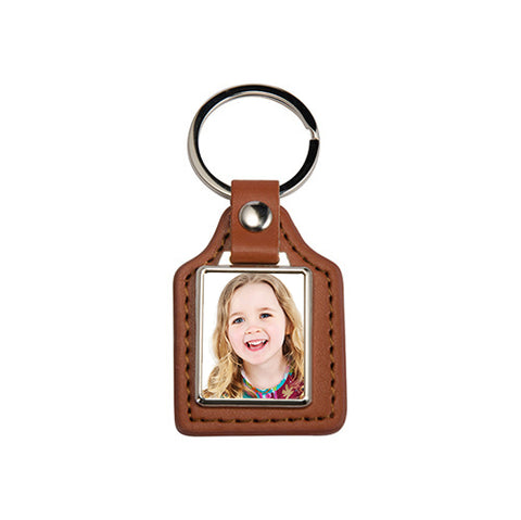 Brown Rectangle PU Leather Keyring - Personalised Keyring