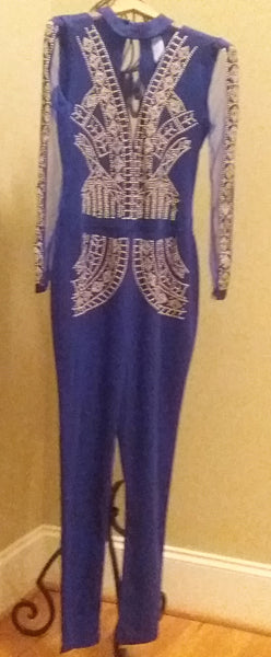 Blue and Gold Bead Jumpsuit -Last One!
