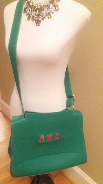 Green FlapOver Cross Body Handbag or Briefcase. Choose AKA Monogram or Plain