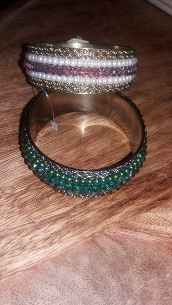 Antique Pink or Green Pearl Bangle