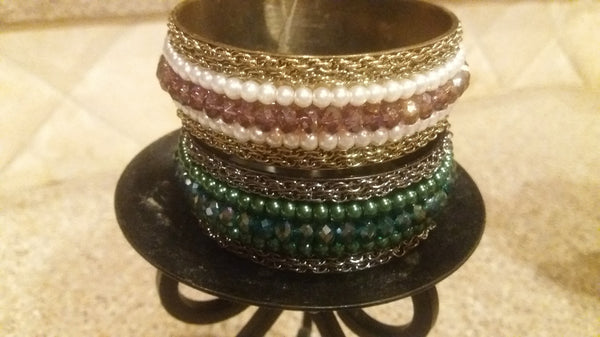 Antique Pearl Green or Pink Bangle Bracelet