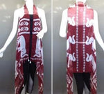RED WHITE Elephant  Poncho with Geometric Designs