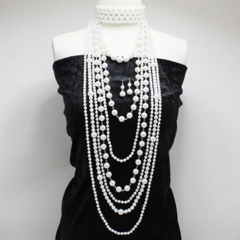 White Pearl Long Choker Necklace