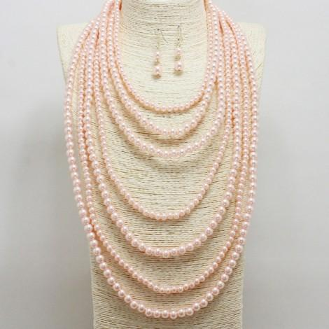 Pink Pearl Layered Necklace