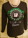 A Walk In Her Pearls(AWIHP)     Ladies Fit Long Sleeve Glitterized T-Shirt