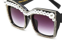 Black Limited Edition Crystal Pearl Cat Eye Sunglasses