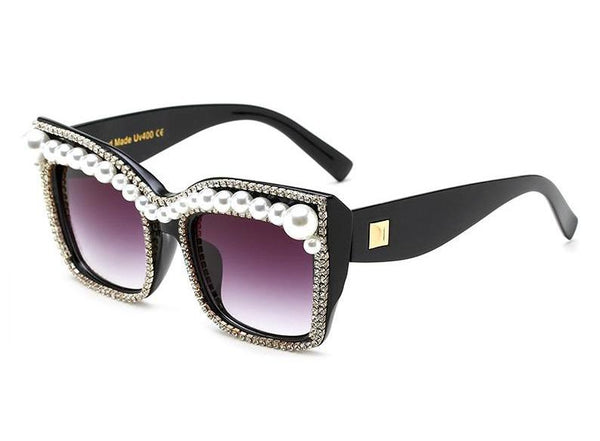 Black Limited Edition Crystal Pearl Cat Eye Sunglasses SKU# BLCES-19