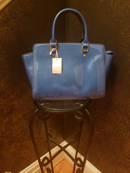 Gorgeous Blue Patent Leather Fashion Handbag with Handles and Strap