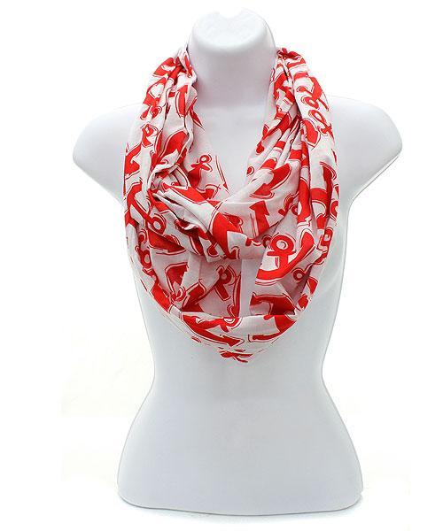 Red Anchor Print Scarf