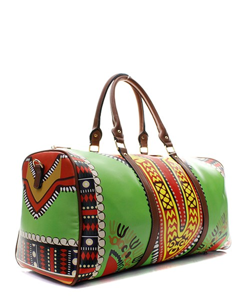 Green or Yellow Dashiki Tote/Overnight Duffel Bag