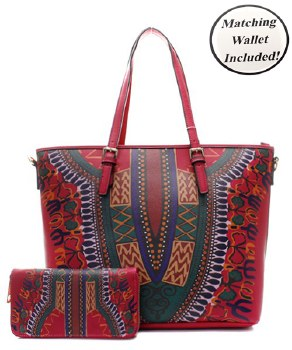 Pink Dashiki Tote with Matching Wallet