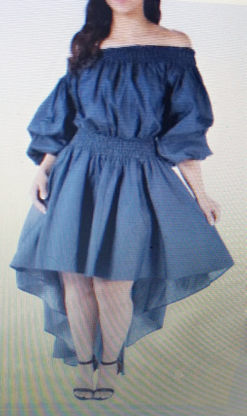 Denim Off Shoulder Hi Lo Dress