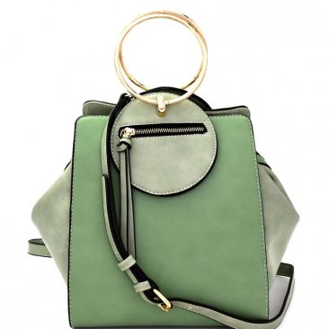 Olive Leather Handbag with Gold Circle Handle