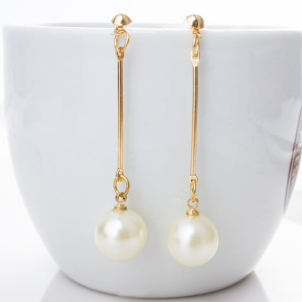 Cream Long Dangle Single Pearl Earrings-Unique!