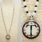 2 Tone Initial T Long Necklace