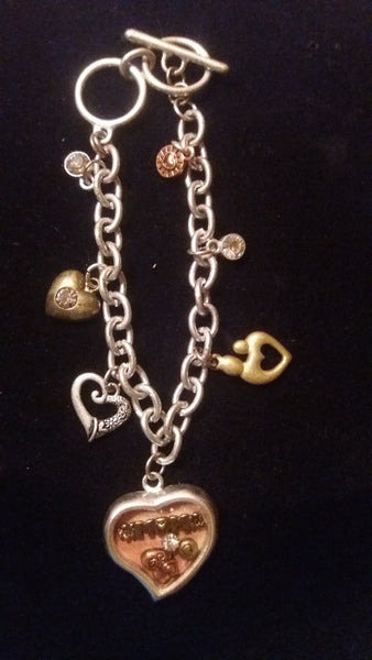 "Antique Silver & Gold Charm ""MOM"" Bracelet"