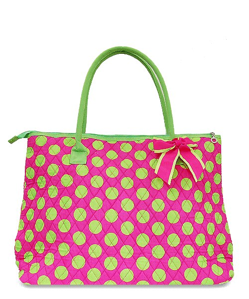 Pink & Green Large Quilted Polka Dot Print Overnight Tote *Zipper Top