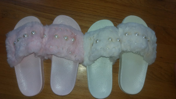 Pink  or Cream Pearl Faux Fur Comfy Slides SKU-CPFS-19
