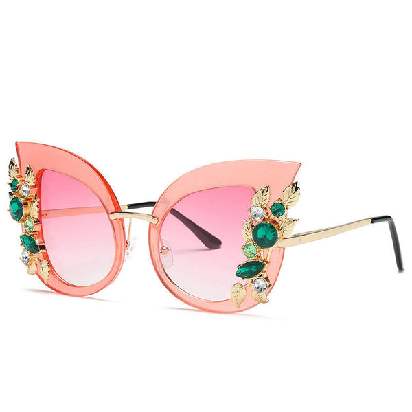 Pink, Green, or Clear Sunglasses with Flower Diamond Crystals Trim (Chose your color)