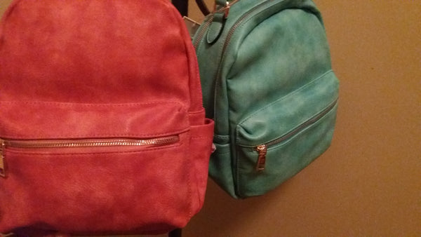 Salmon Faux Leather Backpack
