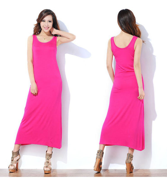 Pink MAXI LONG TANK DRESS  (,M,L,XL)