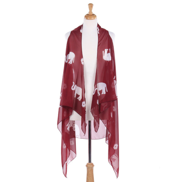 RED WHITE Large Elephant Poncho/SHAWL Sleeveless Asymmetrical Hem