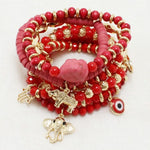 Red Multi Charm with Elephant Bracelet
