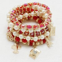Red Travel Charm Bracelet
