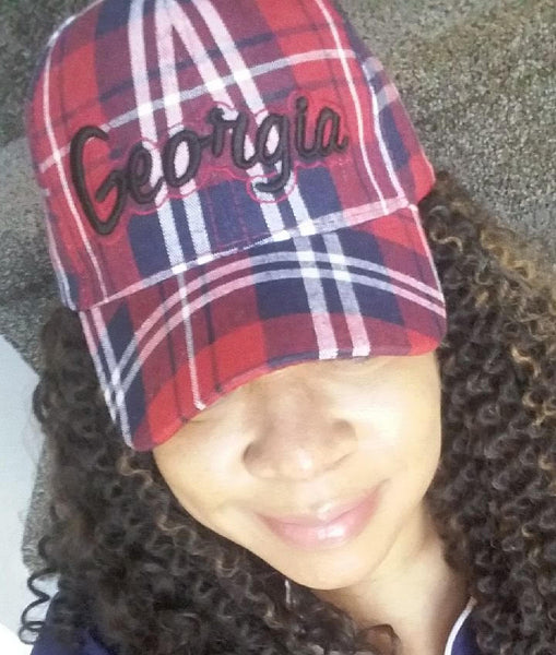 Red Plaid Georgia Baseball Cap