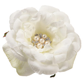 Large White Cream Rose with Pearl Center