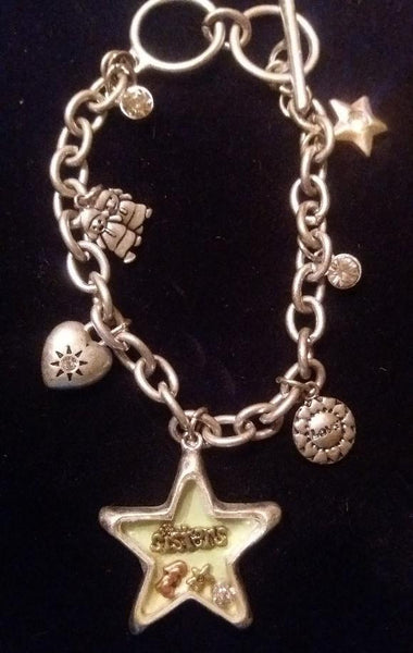 "Antique Silver & Gold Charm ""SISTER"" Bracelet - GREAT FOR A SISTER OR SOROR"
