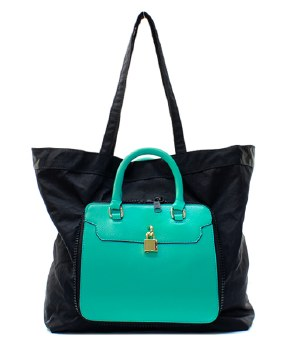 Pink and Teal Convertible Tote Bag