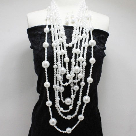White Small & Large Pearl Multi Layered Necklace