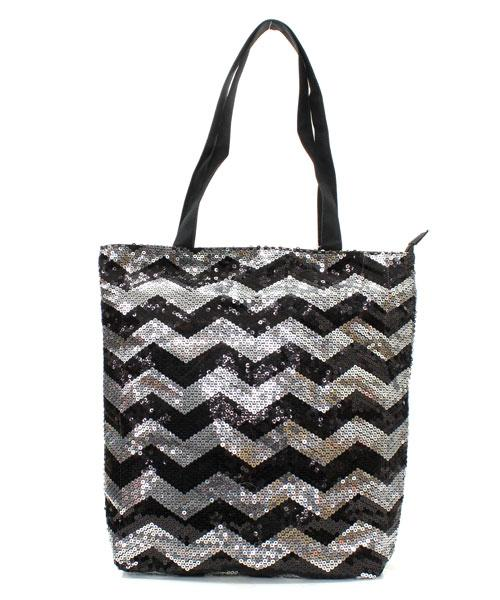 Black Chevron Sequin Tote Bag