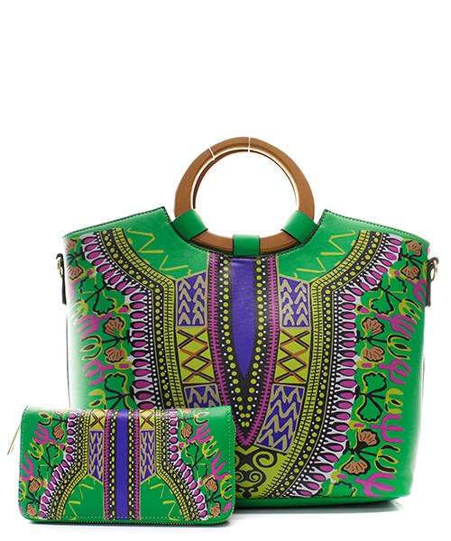 Green Dashiki Tote with Matching Wallet