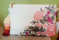 Ivory Clutch with Pink, Green, Red Flowers and Tassels