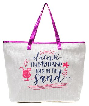 Hot Pink Fashion Tote -Drink in Hand, Toes in Sand